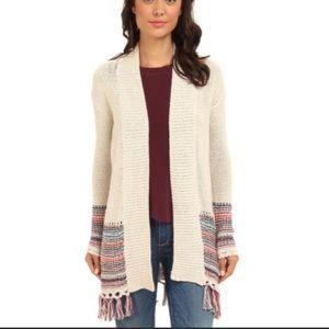Roxy Open Front Fringe Boho Cardigan / Sweater